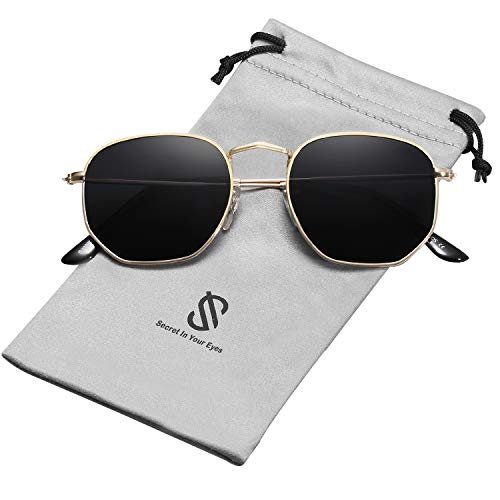 SOJOS Small Square Polarized Sunglasses for Men and Women Polygon Mirrored Lens SJ1072 with Gold Frame/Grey Polarized Lens