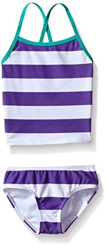 Kanu Surf Little Girls' Alexa Beach Sport 2-Piece Banded Tankini Swimsuit, Layla Purple Stripe, 5