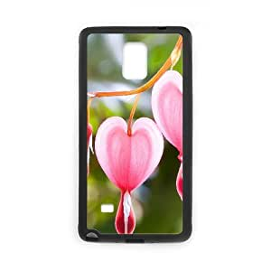 Pink Heart Flowers Samsung Galaxy Note 4 Case, Case Vety {Black}