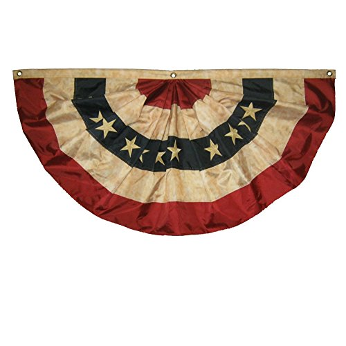 (Ant Enterprises 3x6 Embroidered Nylon 2ply Tea Stained Vintage Historical USA Bunting Fan)