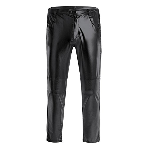 ACSUSS Men's PVC Leather Night Club Metallic Pants Straight Leg Trousers Plus Size Black XXX-Large -