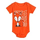 Igemy Newborn Infant Baby Boys Girls Fox Letter Print Romper Jumpsuit Outfits Clothes (0-6Months, Orange)