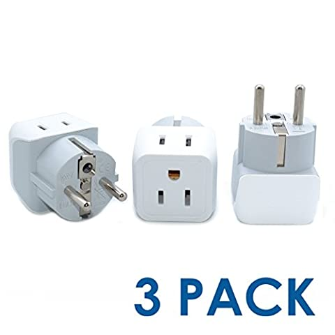 Ceptics USA to Schuko Germany, France, Russia Travel Adapter Plug - Type E/F (3 Pack) - Dual Inputs - Ultra Compact (Does Not Convert - Outlet Converter