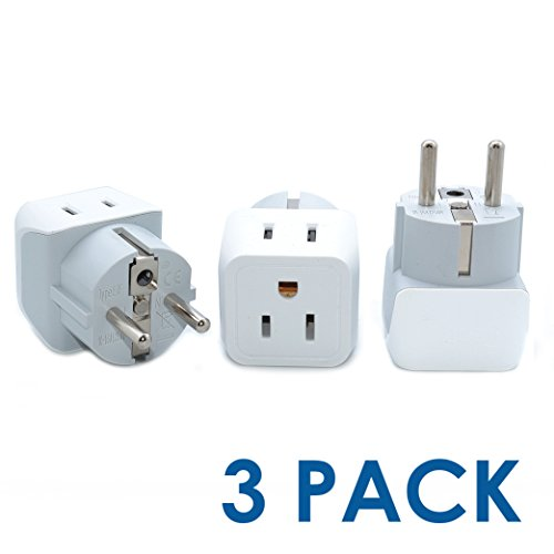 Ceptics CT-9 USA to Schuko Germany, France, Russia Travel Adapter Plug - Type E/F (3 Pack) - Dual Inputs - Ultra Compact (Does Not Convert - Outlets In Ct