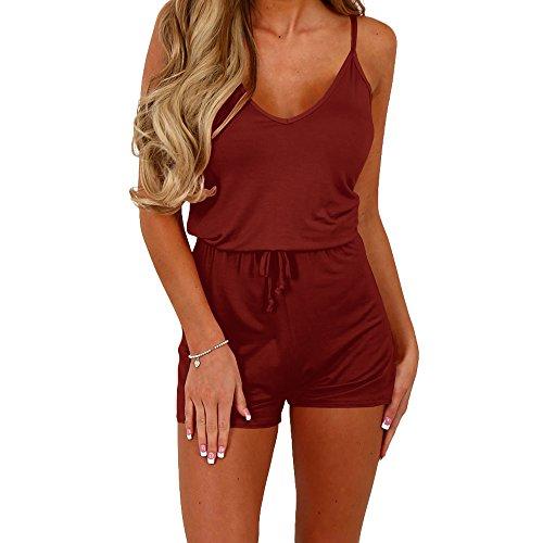 (Dreamskull Women Summer Casual Spaghetti Strap Adjustable Waist Drawstring Short Jumpsuit Solid Cami Romper For Girl,Red,Large)