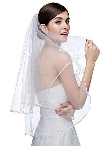 VERNASSA 2 layers Bridal Veil with Comb Wedding Veil,White,Free Size -