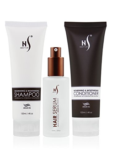Argan Oil Hair Care Set | Natural Hair Care Products For Women | Argan Oil Hair Serum To Treat Damaged Hair | Anti Frizz Hair Products From Herstyler | Hair Care Set of 3 For An Alluring Mane