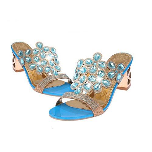 Forme de étincelante Robe Chaussures Bleu Orteil Talon Blocage de de Strass Dérapant Fashion Femme Ouvert Anti Plate Sandales aqF74n4Z