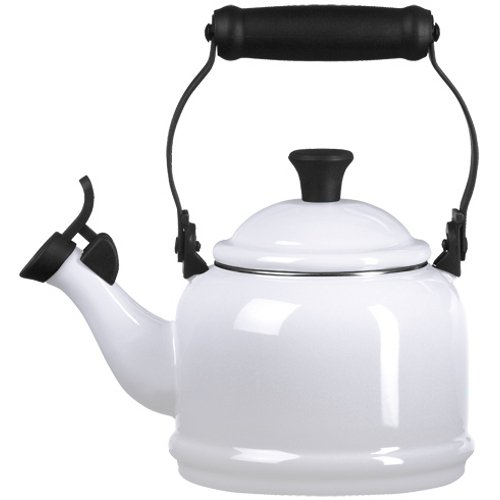 White Stove Enamel - Enamel On Steel 1.25 Qt. Demi Tea Kettle Color White