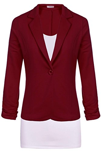 Meaneor Women's Casual Work Solid Candy Color Blazer Dark Red (Red Wool Blazer Jacket)