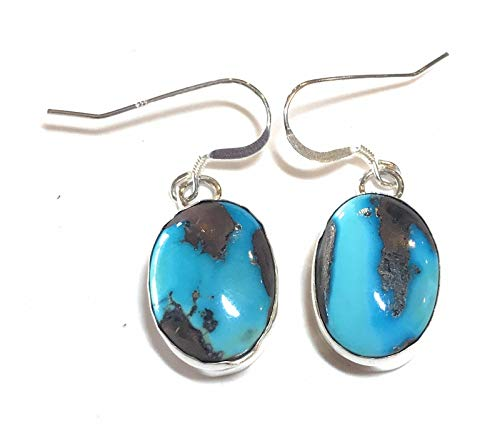 Navajo Sterling Silver Golden Hill Turquoise Dangle Earrings from Nizhoni Traders LLC