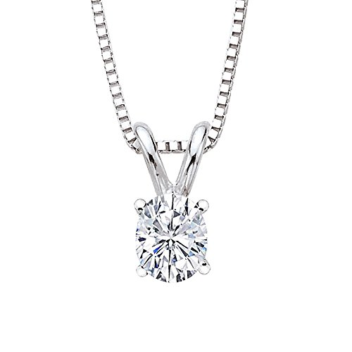 GIA Certified 1.04 ct. I - VS2 Oval Cut Diamond Solitaire Pendant with Chain in 14K White Gold by KATARINA (Image #2)
