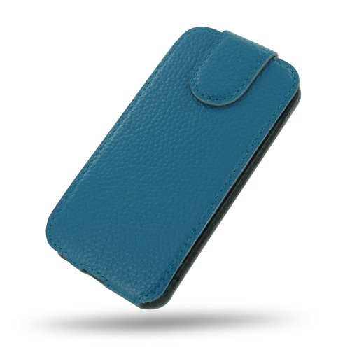 Apple iPhone 5s Ultra Thin Leather Case / Cover (Handmade Genuine Leather) - Flip Top Type (Teal/Floater Pattern) by Pdair