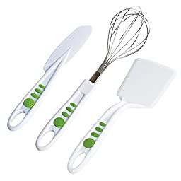 Curious Chef 3 Piece Baking Tool Set, Child, Green/White