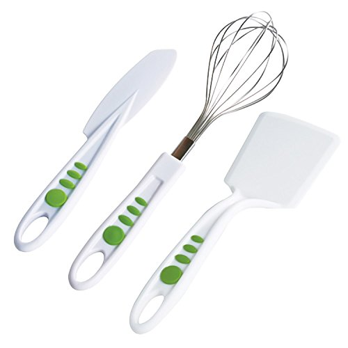 Real Kitchen Tools and Cookbook for Kids - Curious Chef 3 Piece Baking Tool Set, Child, Green/White