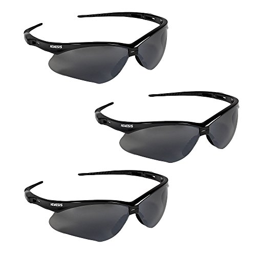 (Jackson Safety V30 25688 Nemesis Safety Glasses 3000356 (3 Pair) (Black Frame with Smoke Mirror)