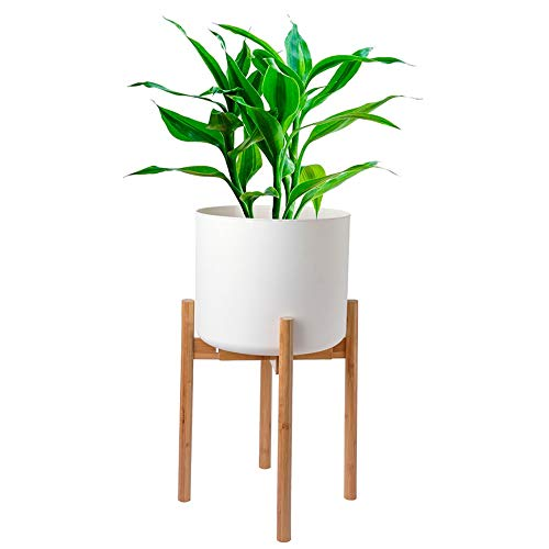 Bamboo Plant Stand | Potted Plant Rack for Indoors & Outdoors | Mid Century Modern Flower Pot Holder | Adjustable Width: 8-12