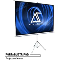 """Akia Screens 100"""" Portable Indoor / Outdoor Tripod Projector Screen, 100 inch Diagonal 4:3, 8K / 4K Ultra HD 3D Ready Pull Up Collapsible Projection Screen with Tripod Stand, AK-T100SB"""