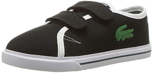 Lacoste Baby RIBERAC Sneaker, Black/White Canvas, 8. Medium US Toddler (Lacoste Baby Sneakers)