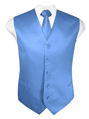 Guytalk Mens Solid Tuxedo Vest Necktie and Handkerchief Set Large Sky Blue