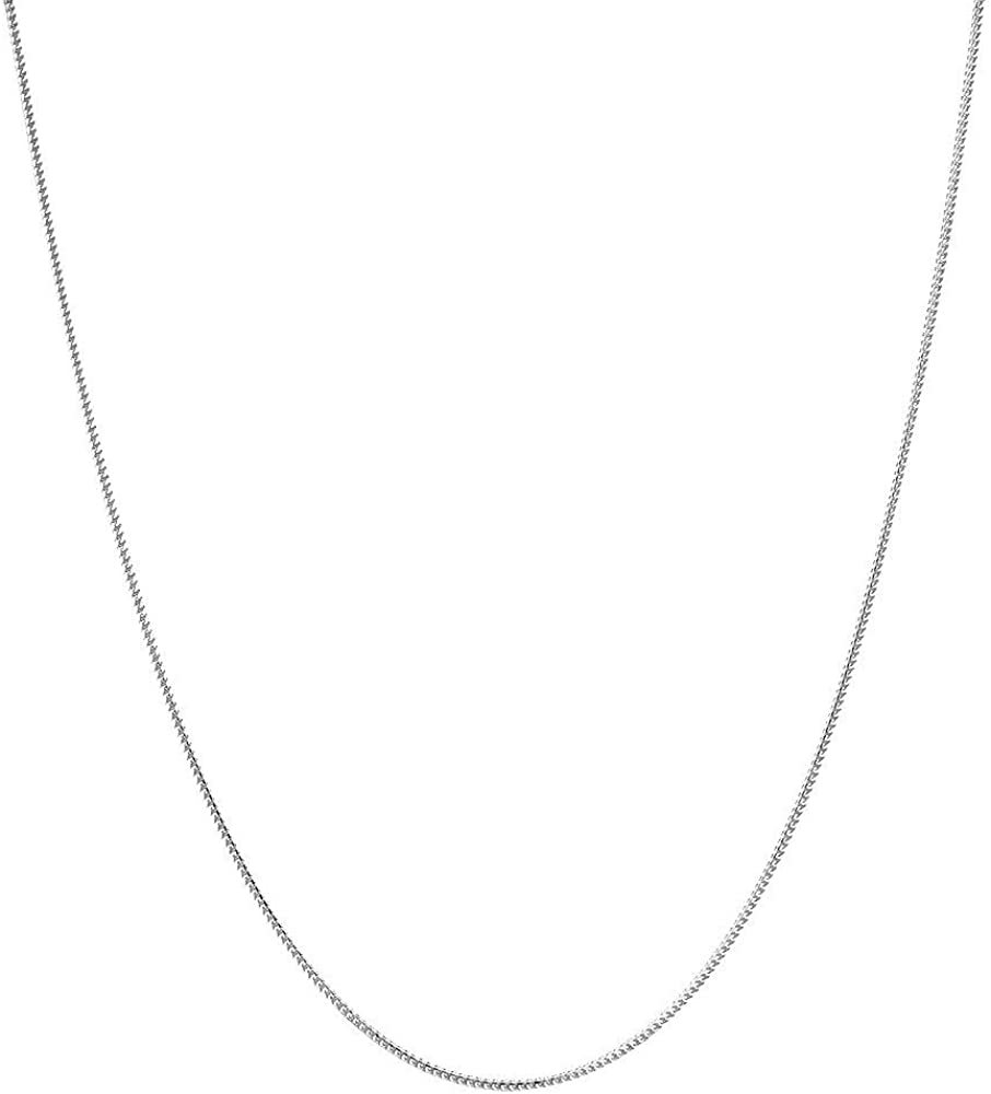 14K Yellow Or White Gold 1.2mm Shiny Diamond-Cut Classic Franco Chain Necklace for Pendants and Charms with Lobster-Claw Clasp ,16, 18, 20 or 24 inch