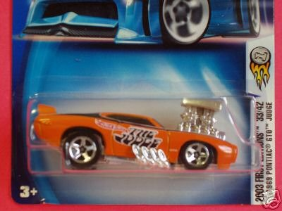 2003 First Editions -#33 1969 Pontiac GTO Judge Black Inside Blower #2003-45 Collectible Collector Car Mattel Hot Wheels 1:64 Scale (Muscle Machines)