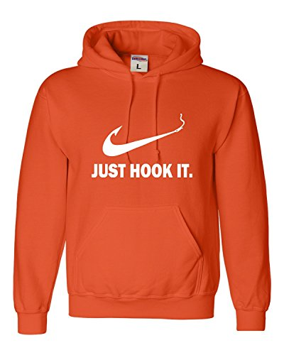 Go All Out XX-Large Orange Adult Just Hook It Funny Fishing Sweatshirt Hoodie