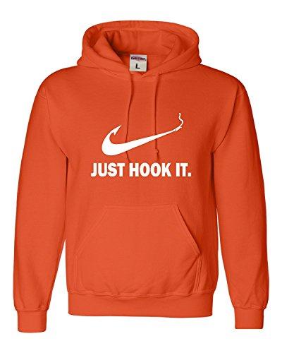 Hook Orange (Go All Out Large Orange Adult Just Hook It Funny Fishing Sweatshirt Hoodie)