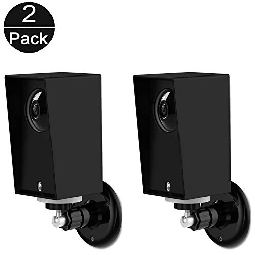 Wyze Cam Pan Wall Mount, Weather Proof Anti-Sun Glare and UV Protection Outdoor/Indoor Adjustable Bracket with Protective Skin Case for Wyze Cam Pan 1080p Security Camera (Black(2pack))