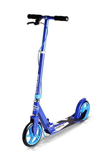 Fuzion Cityglide B200 Adult Kick Scooter w/Hand Brake - 220lb Weight Limit - Folds Down - Adjustable Handle Bars - Smooth & Fast Ride (Midnight Blue)