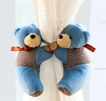 Teddybär Raffhalter, Für Kinderzimmer Gardinen, Blau, 2 Stück
