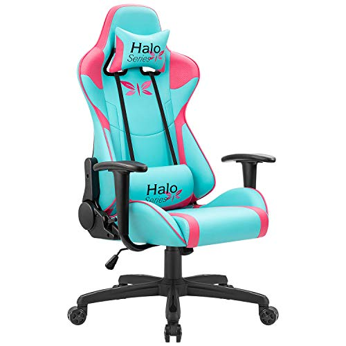 JUMMICO Gaming Chair Girl Series Height Adjustable Racing Chair Specialty Design Comfortable Ergonomic Computer Swivel Chair with Headrest and Lumbar Support (Blue and Plum red)