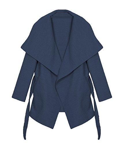 Kendindza chaqueta Abrigo de la capa de las mujer señoras gabardina con cinturón Onesize largo y corto Navy Blau Kurz