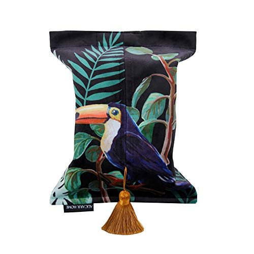 ins creative rectangle forest toucan velvet Paper Facial Tissue Box Cover Organizer Holder for car Bathroom Vanity Countertops Bedroom Dressers Night Stands Desks and Tables - green and black