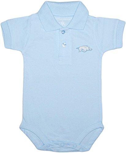 Creative Knitwear University of Arkansas Razorbacks Newborn Polo Bodysuit Light Blue