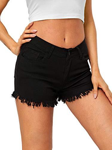 Raw Denim - WDIRARA Women's Casual Mid Rise Frayed Raw Hem Ripped Denim Jean Shorts Black L