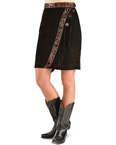 Kobler Leather Women's Tooled and Fringe Sedona Suede Skirt Black (Genuine Suede Leather Skirt)
