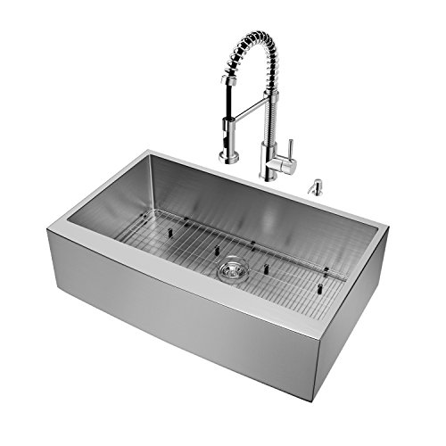 VIGO 36 inch Farmhouse Apron Single Bowl 16 Gauge Stainless Steel Kitchen Sink with Edison Chrome Faucet, Grid, Strainer and Soap (Farmhouse Faucet Pull)