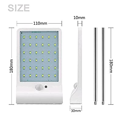 Bonashi Solar Light Outdoor, Motion Sensor Wall Lights with Mounting Poles, Waterproof Detector Light, Security Lighting for Barn Porch Garage, 2 Pack, White
