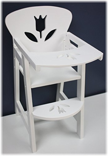(18 Inch Doll Furniture Wooden Doll High Chair with Lift-Up Tray - (18