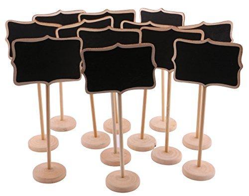 dedoot 12piezas Wave-shape borde rectangular pizarrón de madera rectangular cinturón ángulo Mini tablero de mensajes etiqueta de precio pizarrón de bambú con fondo de tablero tarjeta de asiento para el hogar y decoración de la boda