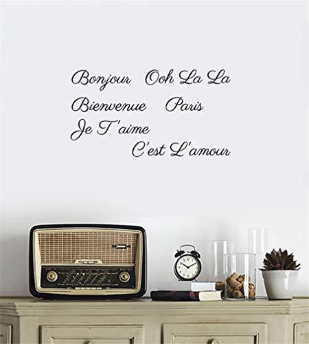 Rtuyi Wall Art Stickers Quotes and Sayings Bonjour Ooh La La bienvenue Paris je T'Aime C'est L'Amour