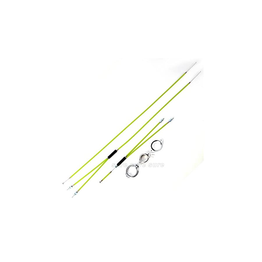 BMX Bike Bicycle Gyro Brake Cables Front + Rear (Upper + Lower) Spinner Rotor Green
