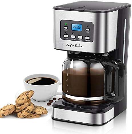 Taylor Swoden Darcy – Macchina da caffè 950W con filtro riutilizzabile e piatto base caldo, capacità 1,5 litri, sistema antigoccia, timer, senza BPA, nero