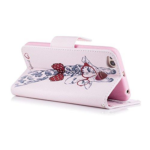 Funda Xiaomi Redmi 4X, CaseLover Libro Flip PU Piel Carcasa para Redmi 4X Smartphone Suave Cuero Folio Tapa y Cartera con TPU Silicona Interna Cierre Magnético Función Soporte Billetera y Tarjeta Ranu Jirafa