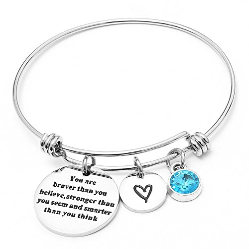 Aqua Mother Of Pendant Pearl (Angel's Draw Home You Are Braver than You Believe Adjustable Bangle Bracelets With 12 Months Color Birthstone for Women Girls Gift (Aquamarine- March))