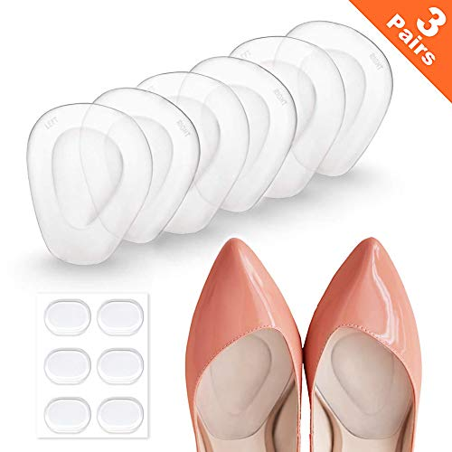 3 Pairs Ball of Foot Cushions Adhere to Shoes for Neuroma, Metatarsal Pads with Water Drop Shape 4D Design, Professional Reusable Soft Gel Insole, All Day Metatarsal Pain Relief and Comfort (Best Shoes For Feet)