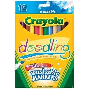 Crayola Non-Toxic Doodling Washable Marker, Fine Tip, Assorted Colors, Pack of 12