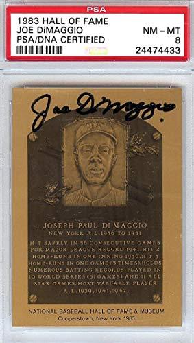 Joe DiMaggio Autographed 1983 HOF Metal Plaque Card New York Yankees #24474433 - PSA/DNA Certified - Baseball Slabbed Autographed Cards ()