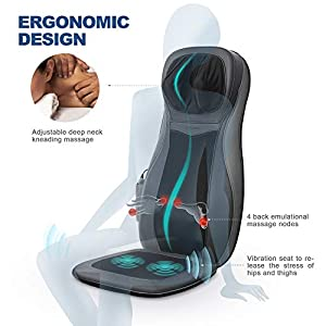 【Christmas Deals】Naipo Shiatsu Back Neck Massager Chair Seat Cushion with Heat Rolling Deep Tissue Kneading Vibration for Pin-Point Spot Full Body Massage
